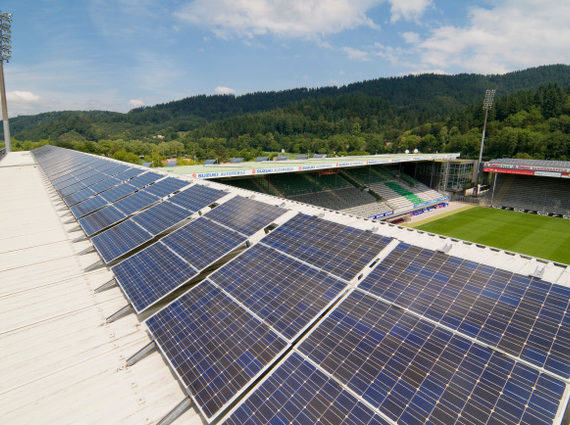 BDMG1T Solar array on the roof of the stadium of the SC Freiburg soccer team, Freiburg im Breisgau, Baden-Wuerttemberg, Germany, Europe