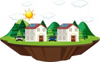 Diagram showing how solar cell works at home illustration